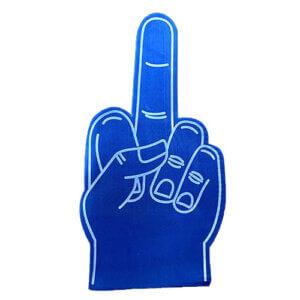 Foam hand middelvinger blauw