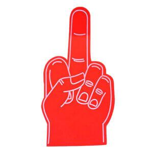 Foam hand middelvinger rood