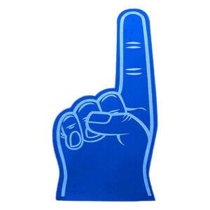 Foam hand wijsvinger klein blauw